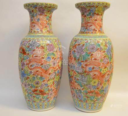 Pair Chinese multi color vases with dragon & floral motif, 2