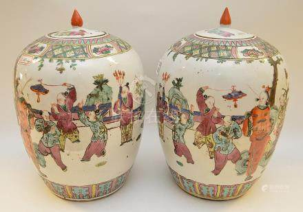 "Pair Chinese ginger jars, figures performing, 14""h"