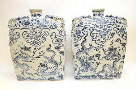 Chinese blue & white flat sided vases with applied dragon ty