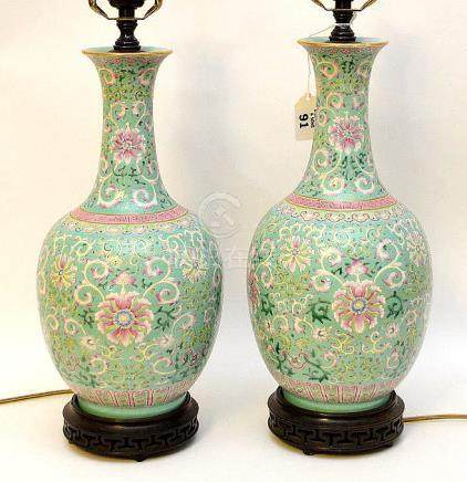 """Pair Chinese turquoise vase form lamps, 15""""h to top vases"""