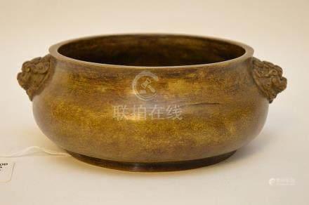 CHINESE BRONZE BRUSH POT - worn gilt patina with stylized fo