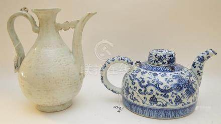 """2 CHINESE PORCELAIN ARTICLES. Blue & White Teapot Ht. 6 1/2"""""""