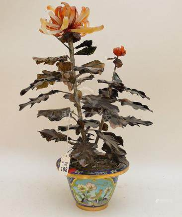 Chinese Jade Tree In A Cloisonné Pot. Condition: good with m