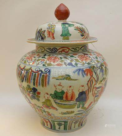 LARGE CHINESE PORCEALIN COVERED JAR with continuous fairy ta