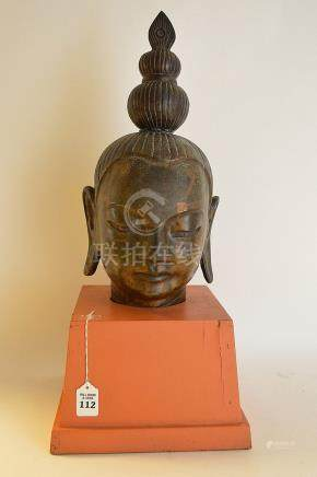 EARLY CHINESE BRONZE BUST OF BUDDHA on a later custom wood b
