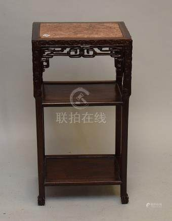 """Chinese stand, 3 tier marble insert top, circa 1910, 38""""h x"""