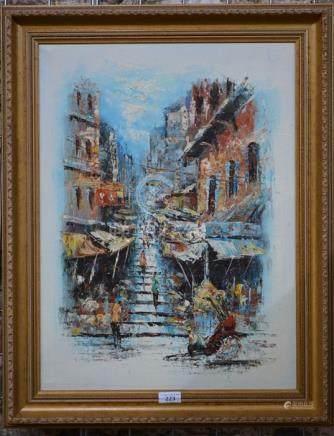 Hong Kong School, oil on canvas, probably Pottinger Street, dimensions including frame 70 x 57 cm
