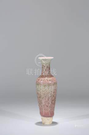 Chinese peach bloom glaze porcelain vase, Kangxi mark.