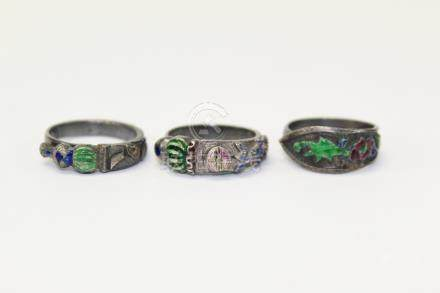 Three antique Chinese enameled silver rings.