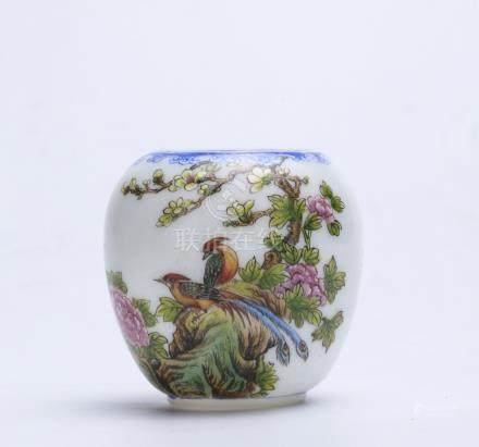 Chinese famille rose porcelain bird feeder.
