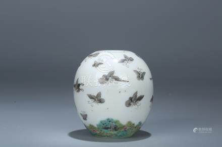 Chinese famille rose porcelain bird feeder, marked.
