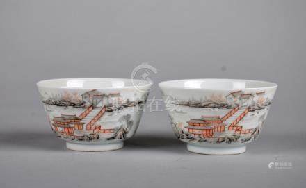 Pair of Chinese grisaille porcelain cups, Yongzheng