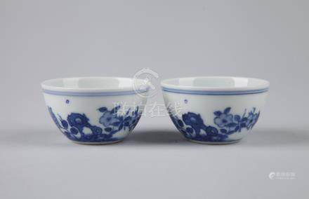 Pair of Chinese blue and white porcelain cups, Chenghua