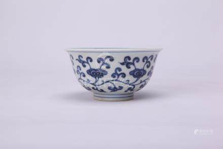 Chinese Ming style blue and white porcelain bowl.