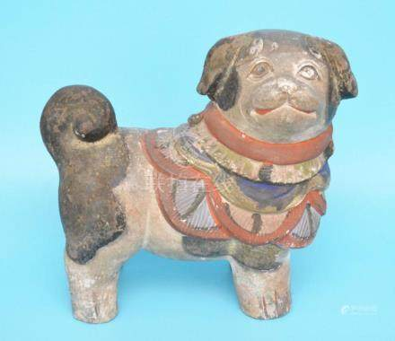 1870s Japanese Clay/ Pottery Pug Dog