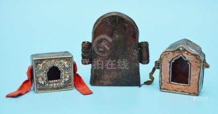 3 Antique Tibetan Gau Prayer Boxes