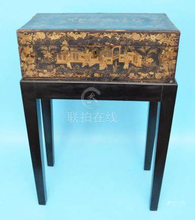 Early Chinese Painted Lacquer Desk / Box on Stand