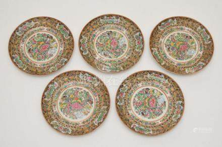 5 Early Chinese Famille Rose Plates