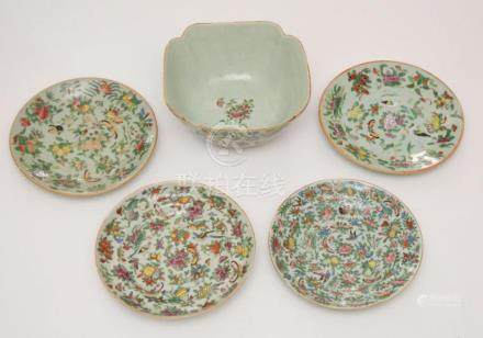 Lot of Chinese Pea Glaze Painted Porcelain Bowls