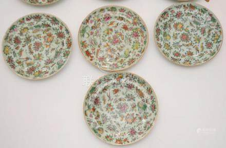 10 Chinese Pea Glaze Porcelain Painted Plates