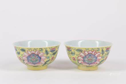 Pair of Chinese Famille-Rose Porcelain Bowls