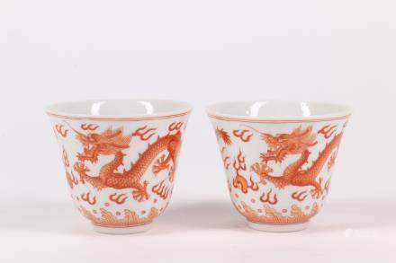 Pair of Chinese Iron Red Porcelain Cups