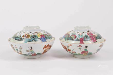 Pair of Chinese Famille-Rose Porcelain Cups with Cover