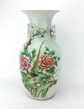 A LARGE FAMILLE ROSE WEDDING VASE