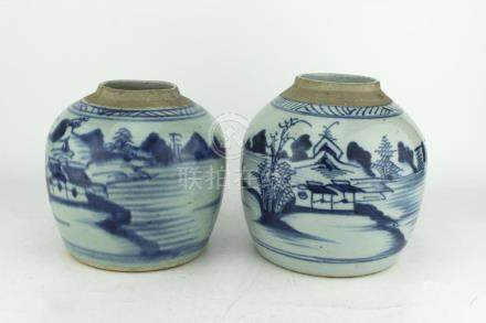 PAIR OF CHINESE B/W EXPORT CANTON JARS