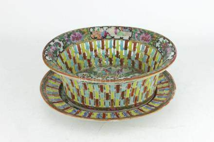 A CHINESE ROSE MEDALLION NET BOWL WITH BASE