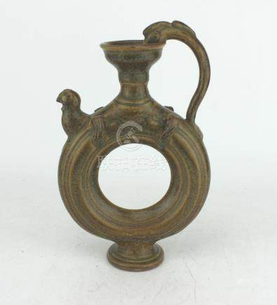 A CHINESE CELADON DONUT STYLE TEA POT
