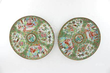 TWO CHINESE EXPORT MADELLION ROSE DISHES