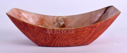 A RARE EARLY 20TH CENTURY CHINESE PORCELAIN AGATE BRUSH WASHER bearing Qianlong marks to base,