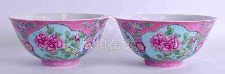A PAIR OF CHINESE FAMILLE ROSE PORCELAIN BOWLS 20th Century, bearing Kangxi marks to base, painted