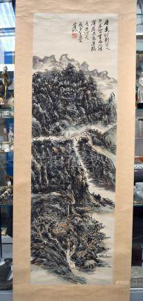A CHINESE INKWORK SCROLL LANDSCAPE WATERCOLOUR 20th Century, painted with figures upon a bridge.