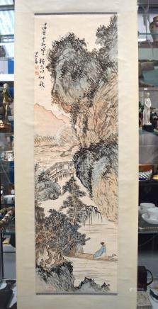 A CHINESE INKWORK SCROLL LANDSCAPE WATERCOLOUR 20th Century, painted with a fisherman. Image 108