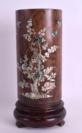 AN EARLY 20TH CENTURY CHINESE CARVED HARDWOOD BRUSH POT Bitong, possibly Huanghuali, decorated