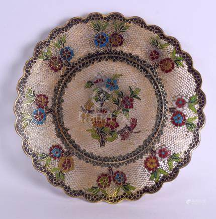 A LOVELY 19TH CENTURY CHINESE PLIQUE A JOUR ENAMEL DISH of open work form, decorated with floral