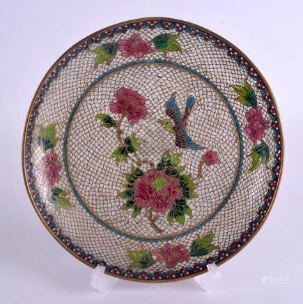A LATE 19TH CENTURY CHINESE PLIQUE A JOUR ENAMEL DISH decorated with birds and foliage. 18 cm