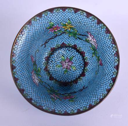 A LATE 19TH CENTURY CHINESE PLIQUE A JOUR ENAMEL BOWL of flared form, decorated with foliage. 15