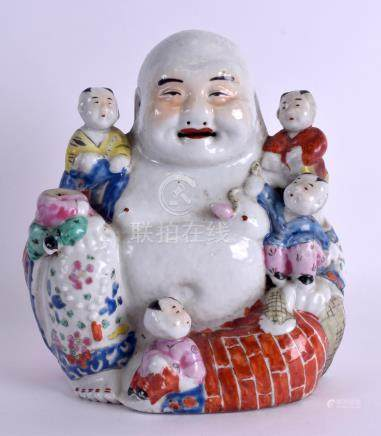AN EARLY 20TH CENTURY CHINESE FAMILLE ROSE PORCELAIN FIGURE OF A BUDDHA modelled with five