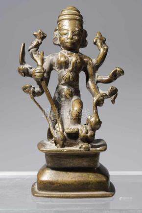 MAHISHASUR MARDINI MOTHER GODDESS DURGAbronzeSouth-India, 18th centuryH: 16 cm Functioning as an