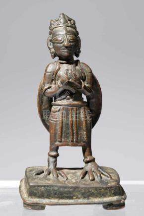 STANDING GARUDABronzeIndia, 17th Century H: 15 cmRare standing Garuda, both hands in front of his