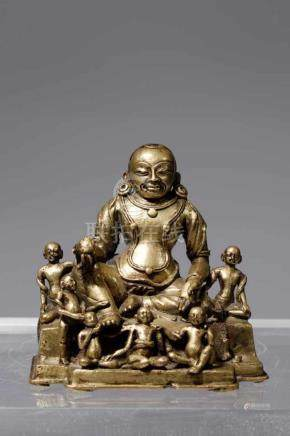 ARHAT HVASHANGbrass bronzeTibet, 18th centuryH: 10 cmSeated on a stepped plinth, his shoulders