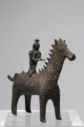 HORSE WITH RIDERbronze,India, Orissa 19th centuryRider sitting on the back of a horse. These Kondh