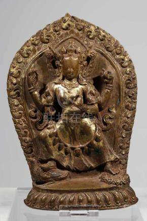 PRAJNAPARAMITAcopper restgilt,Nepal, 1690,H: 21 cmPrajnaparamita standing with the left foot resting
