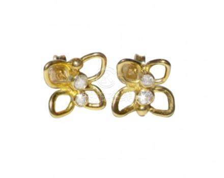 18ct Yellow Gold and Diamond Butterfly Earrings