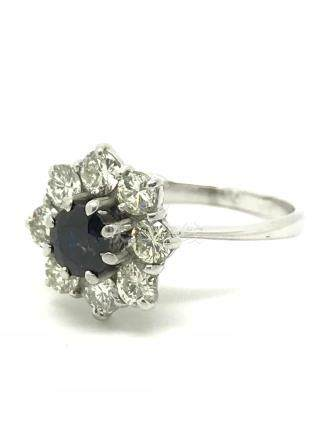 Sapphire (0.50ct) & Diamond (0.80ct) Cluster Ring – 18ct White Gold – Size K – 3.50g