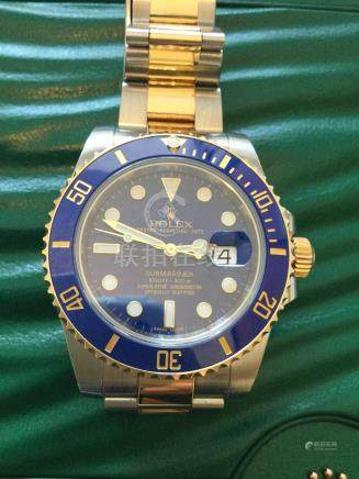 2015 model Bi metal Blue dial Rolex submariner with date