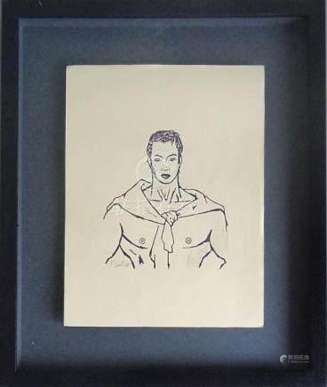 Jean BOULLET (1921-1970)Homme au pull overEncre de Chine et crayon sur papier t